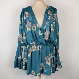 Free People | Teal floral tunic dress M
